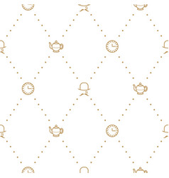 English tea party elegant gold on white line vector