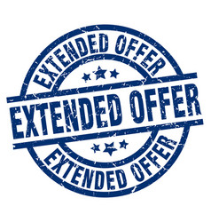 Extended offer blue round grunge stamp vector