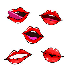 female lips set mouth with a kiss smile tongue vector image