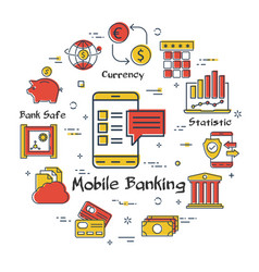 finance and mobile banking linear concept vector image