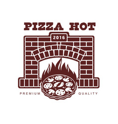 Flat icon pictogram of pizza in fireplace vector