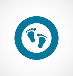 Footprints bold blue border circle icon vector