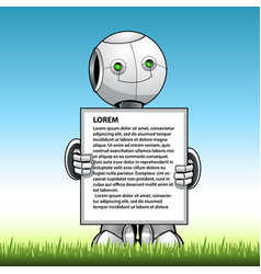 funny kid robot showing advert board vector image