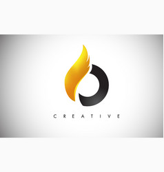 gold o letter wings logo design with golden bird vector image