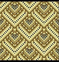 gold striped zigzag 3d greek seamless pattern vector image
