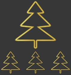 Golden pine tree logo design set vector