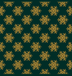 Golden snowflakes on green background vector