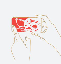 hand phone broken glass vector image