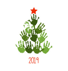 handprint christmas tree with hand drawn star vector image