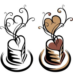 Heart shaped cup of coffee simple stencil vector image