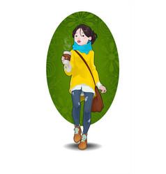 Hipster girl and cup coffee to go vector