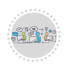 Icon Flat Style Design Working Group vector