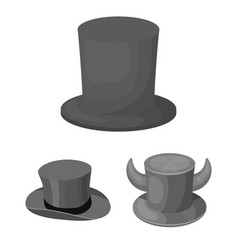 isolated object of hat and derby logo set of hat vector image