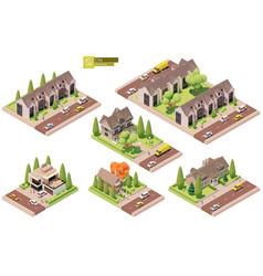 Isometric buildings suburban houses vector