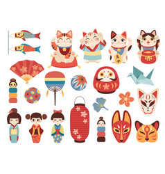 japanese toys national cultural lucky items vector image