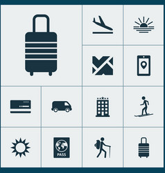 Journey icons set with aircraft roads map app vector