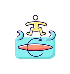 Kickflip surfing technique rgb color icon vector