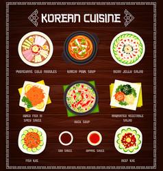Korean cuisine menu food korea meals vector