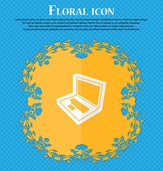 Laptop Floral flat design on a blue abstract vector