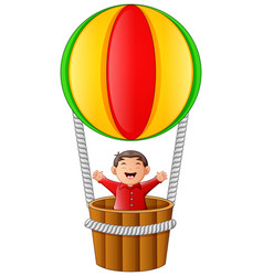 little boy riding hot air balloon on white backgro vector image