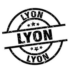 Lyon black round grunge stamp vector