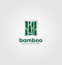minimalist bamboo logo design in negative space vector image