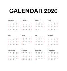 Minimalistic desk calendar 2020 year calendar vector