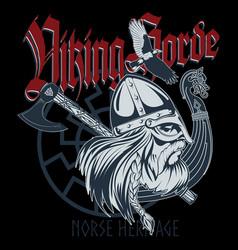 norse warrior berserker viking head viking ship vector image