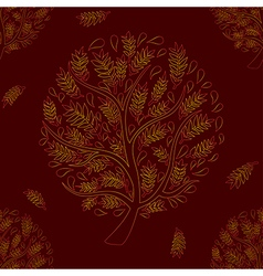 Orange Red Tree on Brown Red Background vector image