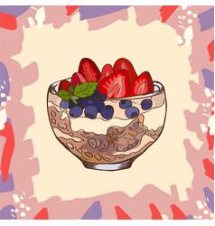 Parfait dessert with granola blueberry vector