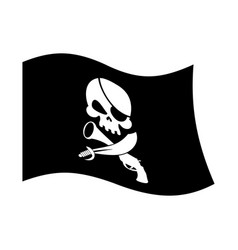 Pirate flag skull and crossbones piratical black vector