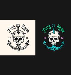 pirate skull at anchor logo jolly roger or vector image