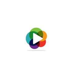 play button circle colorful logo vector image
