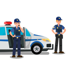 Police officers ready to work cartoon characters vector