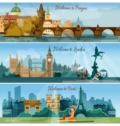 Popular touristic cities flat banners set vector