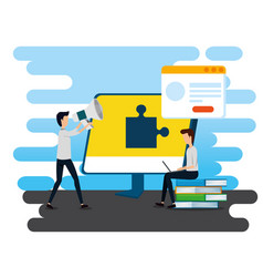 Professional businessmen with computer and website vector