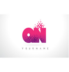 qn q n letter logo with pink purple color and vector image