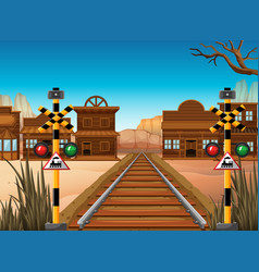 Railroad scene in western town vector