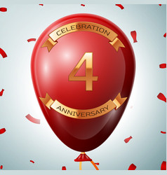 red balloon with golden inscription four years vector image