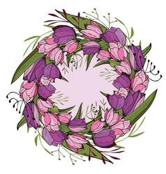 round frame with tulips and herbs on white floral vector image
