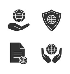 safe internet connection glyph icons set vector image
