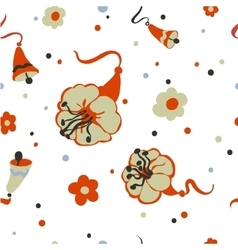 Seamless background with bells and flowers vector image