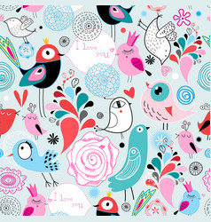 seamless bright multi-colored pattern birds in vector image