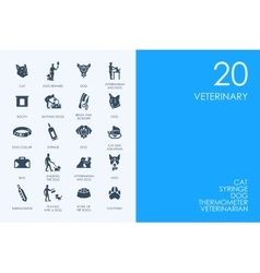 Set of BLUE HAMSTER Library veterinary icons vector image