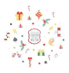 Set of christmas graphic elements on a white vector