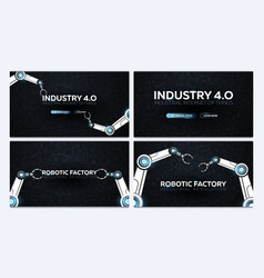 Set of industry 40 banners with robotic arm vector