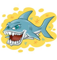 Shark cartoon on yellow background vector