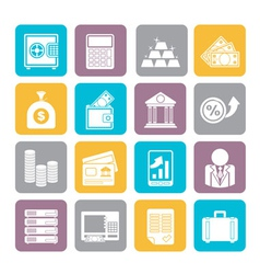 Silhouette Bank and Finance Icons vector image
