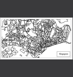 Singapore city map in black and white color vector
