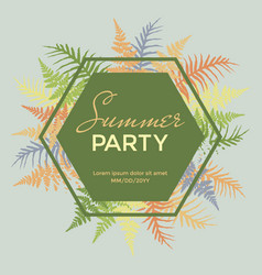 Summer party poster banner card with fern vector